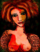 Black Top Mixed Media Acrylic Prints - Redhead Acrylic Print by Natalie Holland