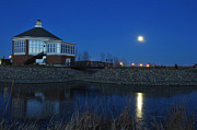 Redlin Prints - Redlin Art Center in full moon Print by Dung Ma
