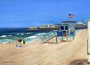 Piers Painting Framed Prints - Redondo Beach Lifeguard  Framed Print by Jamie Frier