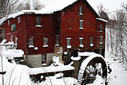 Red Barn In Winter Photos - Redreaming New Hope Mill by Wendy Bandurski-Miller