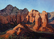 Iron Oxide Paintings - Redrock Shadows by SJW Grogan
