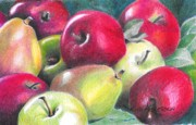 Fruit Trees Drawings - Reds and Greens by David Ackerson