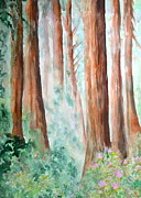 Cherry Blossoms Paintings - Redwoods in the Fog by Sol Arts