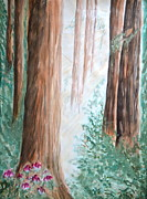 Cherry Blossoms Paintings - Redwoods by Sol Arts