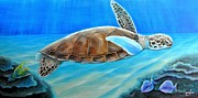 Reptiles Drawings Prints - Reef Chillin Print by Johnny Widmer