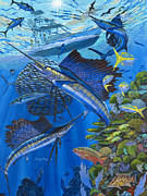 Sailfish Painting Posters - Reef Frenzy OFF00141 Poster by Carey Chen