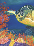 Green Sea Turtle Paintings - Reef Rider by Karen Zuk Rosenblatt