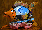 Clown Sculpture Framed Prints - Reef Surfer Framed Print by Suzette Kallen