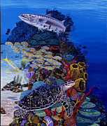 Atlantis Painting Posters - Reefs Edge Re0025 Poster by Carey Chen