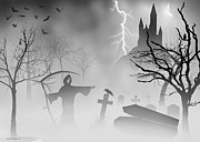 Headstones Digital Art Prints - Reeper Print by Brian Wallace