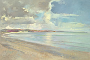 Picturesque Painting Posters - Reflected Clouds Oxwich Beach Poster by Timothy  Easton