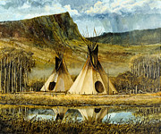 Indian Framed Prints - Reflected Tipis Framed Print by Steve Spencer