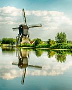 Canals Framed Prints - Reflected Windmill - Holland Framed Print by Philip Sweeck