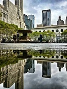 Bryant Park Framed Prints - Reflecting in Bryant Park Framed Print by Shmuli Evers