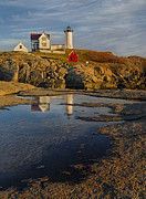 Maine Lighthouses Photo Posters - Reflecting On Nubble Lighthouse Poster by Susan Candelario