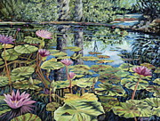 Lilly Pond Painting Framed Prints - Reflecting Pond Framed Print by Danielle  Perry