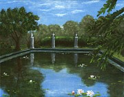 Garden Scene Drawings Metal Prints - Reflecting Pool Metal Print by Anastasiya Malakhova