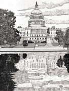 Washington Dc Drawings Framed Prints - Reflecting Pool Framed Print by Calvert Koerber
