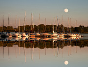 Randall Branham Posters - Reflecting sailboats sundown moon Poster by Randall Branham