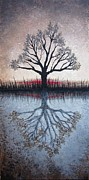 Lone Tree Painting Framed Prints - Reflecting Tree Framed Print by Janet King
