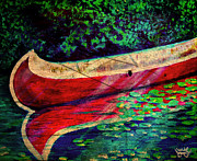 Canoe Mixed Media Prints - Reflection 2 Print by Michael Knight