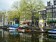Reflection In Canal Amsterdam Netherlands Print by Robert Ford