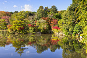 Pond Lake Photos - Reflection in Kyoyochi Pond in Autumn Ryoan-ji Kyoto by Colin and Linda McKie