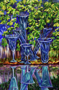 Distortion Painting Prints - Reflection in the glass Print by Yelena Rubin