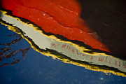 Color Image Pyrography - Reflection In Water Of Red Boat by Raimond Klavins