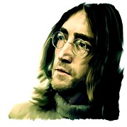 Beatles Drawings Prints - Reflection  John Lennon Print by Iconic Images Art Gallery David Pucciarelli