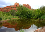 Oak Creek Prints - Reflection of Cathedral Rock Print by Carol Groenen