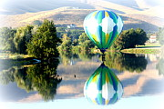 Hot Air Balloon Photos - Reflection of Hills and Hot Air Balloon by Carol Groenen