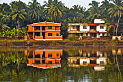 Red Roof Photo Originals - Reflection of house by Nisarg  Lakhmani