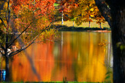 Photos Of Autumn Prints - Reflection  of My Thoughts  Autumn  Reflections Print by Peggy  Franz