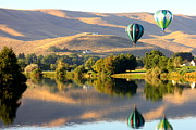 Prosser Balloon Rally Prints - Reflection of Prosser Hills Print by Carol Groenen
