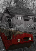 Architectur Metal Prints - Reflection of Red Mill Metal Print by Bill Woodstock