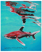 Sharks Pastels Posters - Reflection Of The Last Beating Heart Poster by Bob Timmons