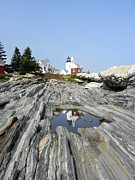 Maine Icons Prints - Reflection of the Lighthouse Print by Jewels Blake Hamrick