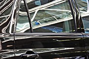 Glass Reflections Framed Prints - Reflection on a Parked Car 3 Framed Print by Sarah Loft
