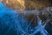 Gasses Prints - Reflection on Fractured Ice Print by Tim Grams