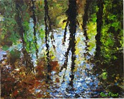 Waterscape Painting Metal Prints - Reflection Metal Print by Peter Plant