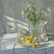 Tablecloth Framed Prints - Reflections and Shadows  Framed Print by Timothy  Easton