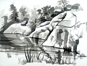 Aquatic Drawings Posters - Reflections at Elephant Rocks State Park No I102 Poster by Kip DeVore