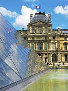 Paris Digital Art Posters - Reflections at the Louvre Poster by Douglas J Fisher