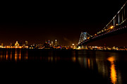 Ben Franklin Bridge Prints - Reflections from Philly Print by David Hahn