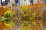 Reflections In Central Park New York City Print by Sabine Jacobs