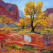 Zion National Park Painting Prints - Reflections in the Wash Print by Erin Hanson