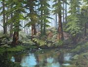 Mountain Biking Paintings - Reflections by Jean Walker