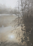 Reflections In Water Pastels Prints - Reflections Print by John Hebb