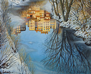 Snowy Stream Paintings - Reflections by Kiril Stanchev